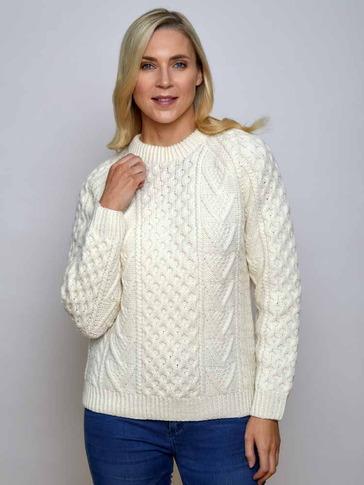 Womens Plus Size Cable Knit Aran Sweater