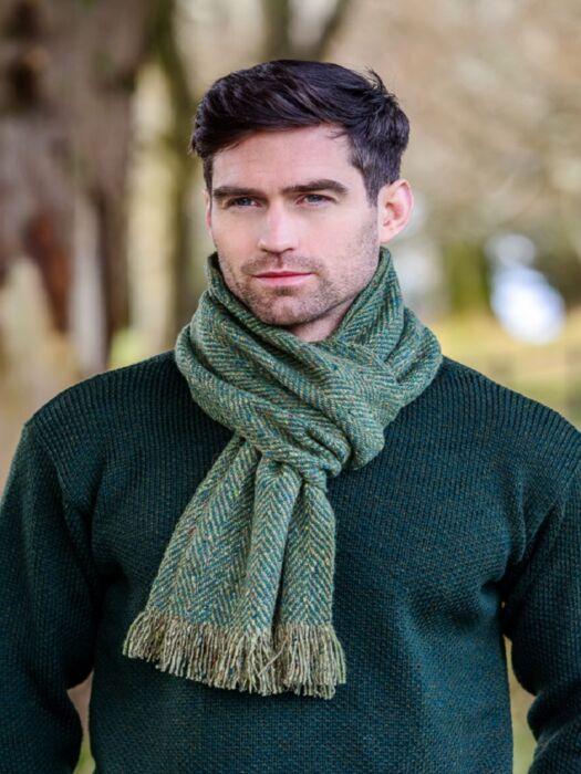 Donegal Tweed Scarf Green Herringbone