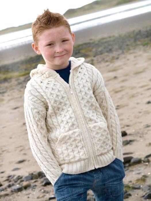 100/% Merino Wool Aran Crafts Kids Irish Cable Knitted Hooded Zip Cardigan