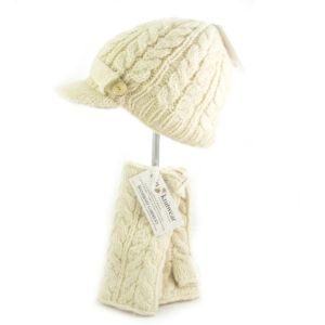 Aran Peak Cable Hat Natural White