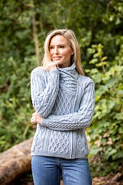 Aran Cable Knit Side Zip Baby Blue