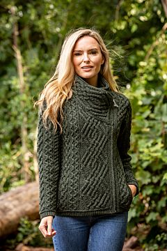 Ladies Cable Knit Side Zip Cardigan