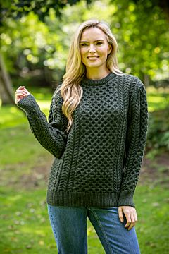 Aran sweater green marl