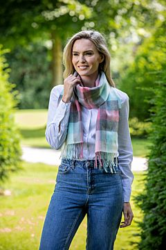 Extra Fine Merino Wool Scarf pink grey Turquoise Check