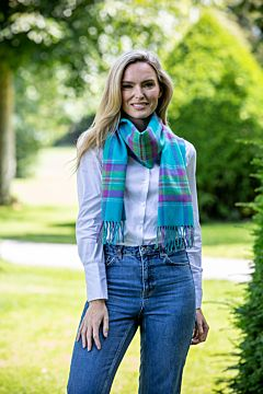 Extra Fine Merino Wool Turquoise and Purple Check