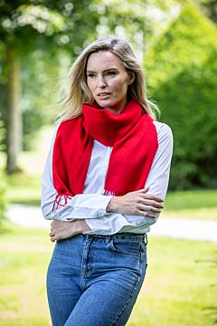Winter Red Wool and Cashmere Scarf
