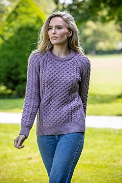 CLASSIC IRISH ARAN SWEATER PURPLE