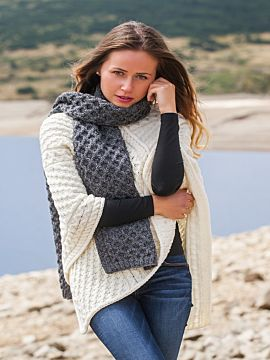 Cable Knit Aran Scarf Slate