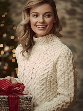 Super Soft High Neck Cable Knit Sweater