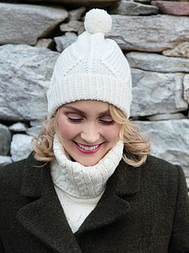 Hand Knit Aran Hat with bobble Natural