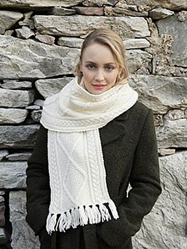 Large Hand made Aran Scarf with Frills