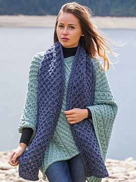 Cable Knit Scarf Denim Marl