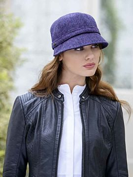 Flapper Cap Purple Herringbone One Size Colour 213