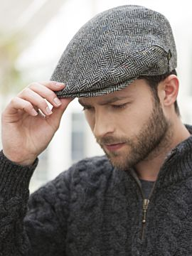 Men's Irish Cap Grey Herringbone