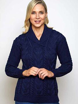 Irish Aran Shawl neck ladies navy