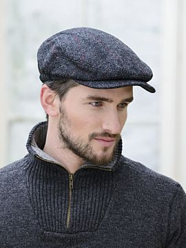 Men's Charcoal and Red Quilted Flat Cap