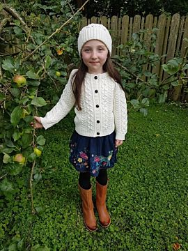 Kids Aran Cardigan Natural