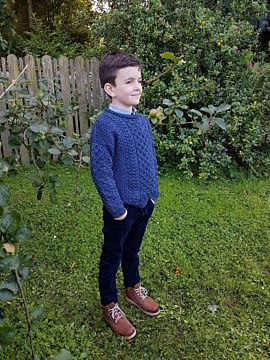 Kids Crew Neck Aran Sweater Denim Marl