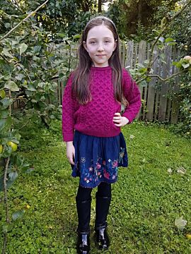 Kids Aran Sweater Raspberry