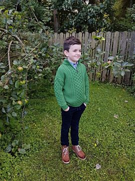Kids Half Zip Aran Sweater Green