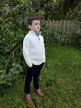 Kids Aran Half Zip Sweater Natural