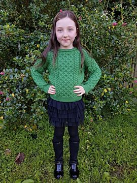 Kids Aran Sweater Green