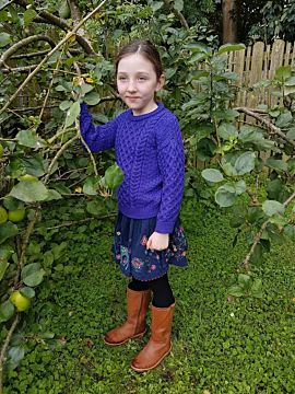 Kids Aran Sweater Purple