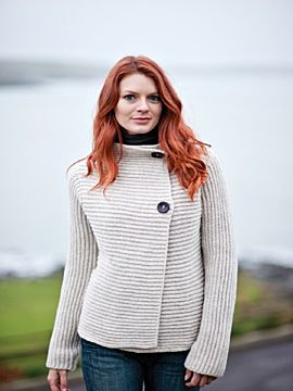 Ladies Ribbed Cardigan Fisherman out of Ireland