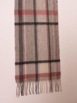 100% Lambswool Light grey Pink and Black Scarf
