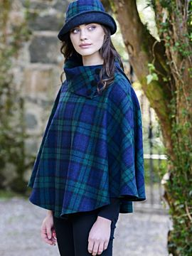 Mucros Tweed Poncho Navy and Green