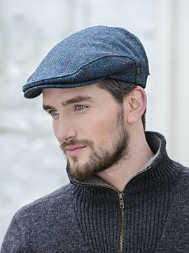 Men's Blue Herringbone Quilted Flat Cap