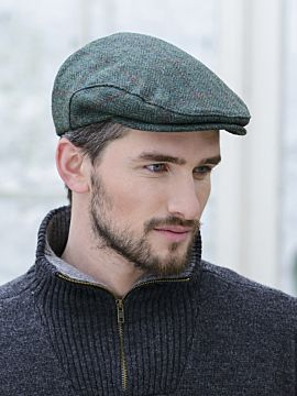 Mens Irish Flat Cap Green Herringbone