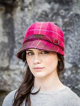 Flapper Cap Pink Check - colour no. 223A One Size