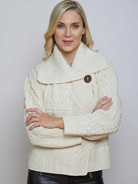 One button aran cardigan Natural