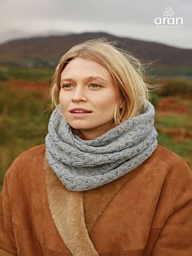 Super Soft Aran Snood Silver