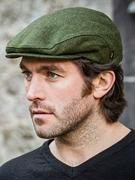 Mens Flat Cap Green Wool
