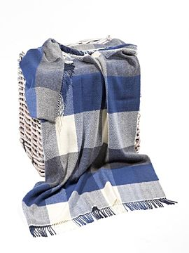 Wool and Cashmere Blue Check Throw