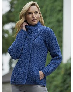 Three Button Aran Cable Knit Jacket