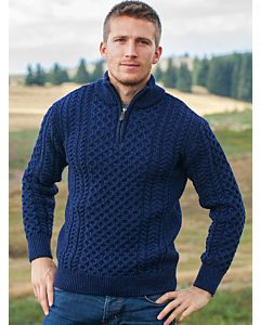 Mens Aran Half Zip Neck Sweater Blue