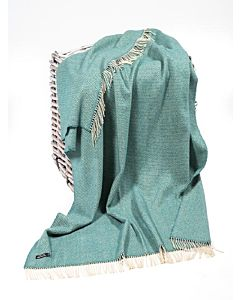 Wool and Cashmere Turquoise Herringbone Throw