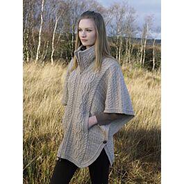 Charcoal Meduim Large West End Irish Merino Wool Batwing Aran Knit Jacket