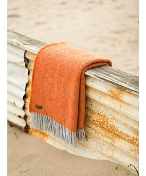 Pure Wool Blanket - Pumpkin Orange