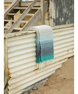 Pure New Wool Blanket - Seaside Stripe