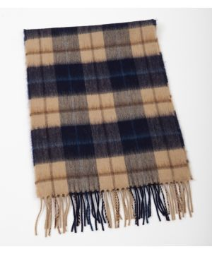 Extra Fine Merino Wool Scarf Navy Cream Check