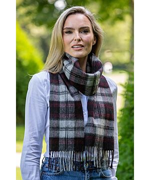 Wool and Cashmere Scarf Grey, Black and Red