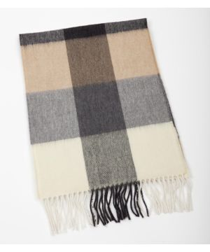 Extra Fine Merino Wool Scarf Charcoal Cream and Beige Blocks