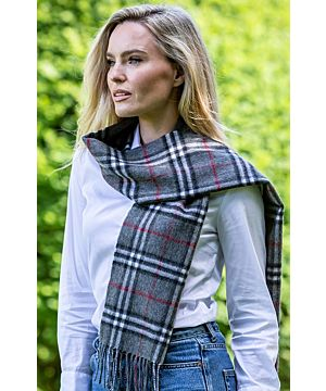 Wool and Cashmere Scarf Grey and Black Tartan