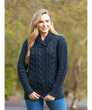 Ladies Fitted Shawl Neck Sweater Blackwatch