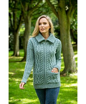 Full Zip Fitted Aran Cardigan with large collar