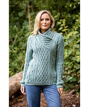 Side Zip Cable knit Sweater with Claddagh Zip
